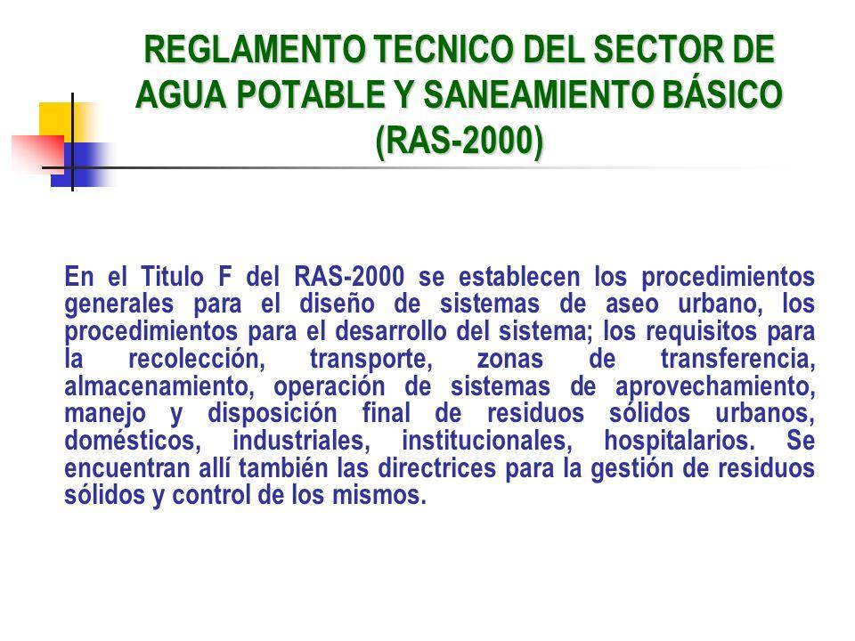 REGLAMENTO TECNICO DEL SECTOR DE AGUA POTABLE Y SANEAMIENTO BÁSICO (RAS-2000)