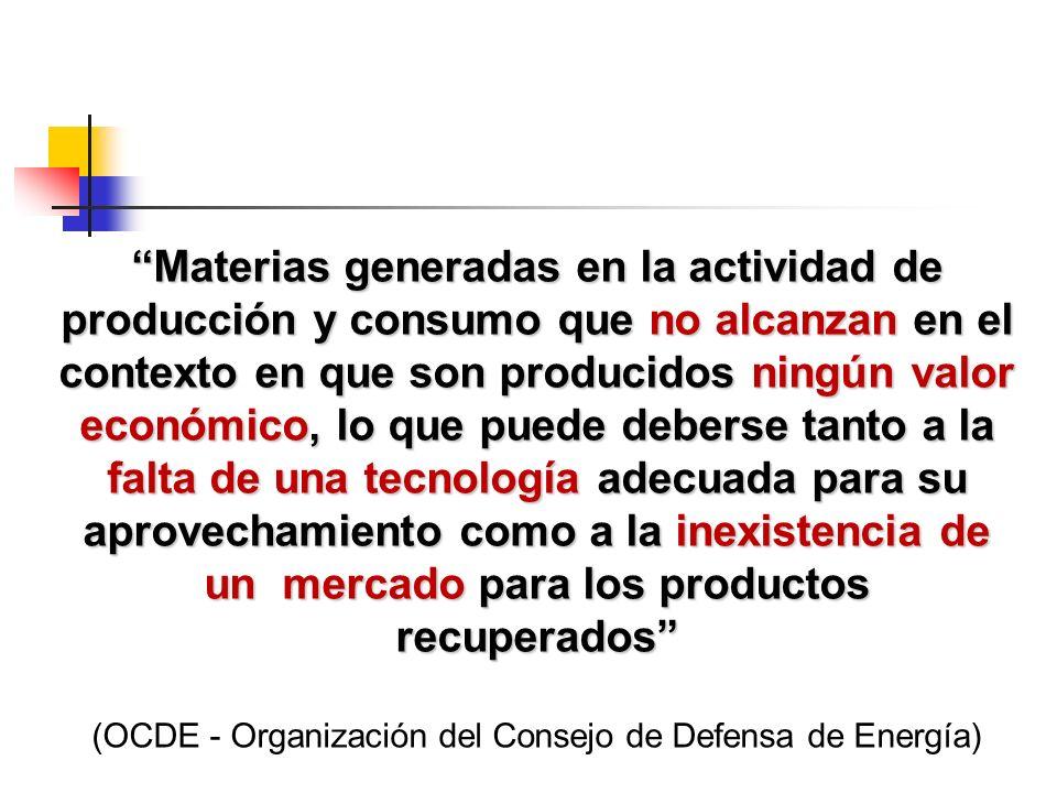 Materias generadas en la actividad de producción y consumo que no alcanzan en el contexto en que son producidos ningún valor económico, lo que puede deberse tanto a la falta de una tecnología adecuada para su aprovechamiento como a la inexistencia de un mercado para los productos recuperados (OCDE - Organización del Consejo de Defensa de Energía)