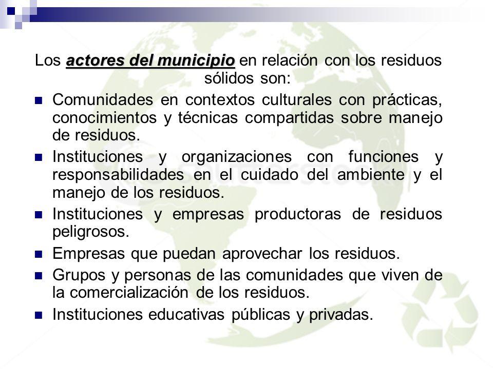 Los actores del municipio en relación con los residuos sólidos son: