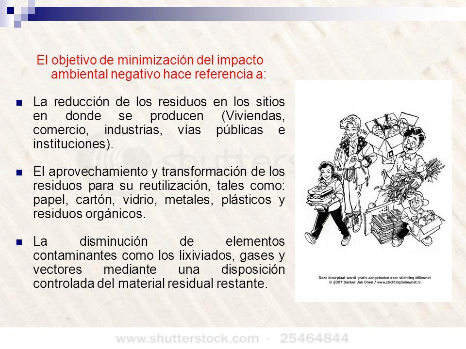 El objetivo de minimización del impacto ambiental negativo hace referencia a: