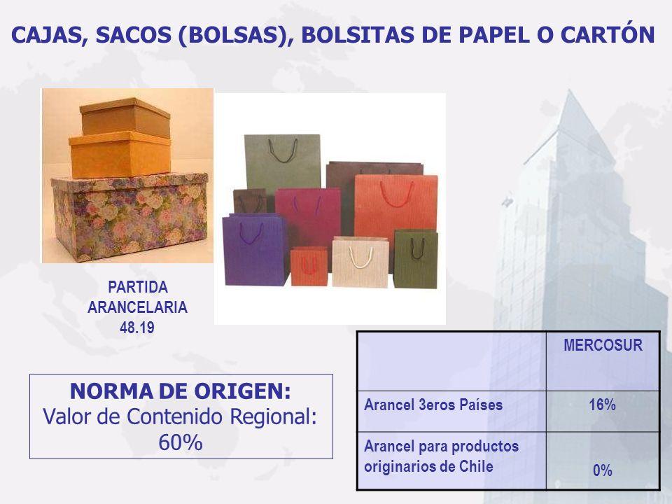 CAJAS, SACOS (BOLSAS), BOLSITAS DE PAPEL O CARTÓN