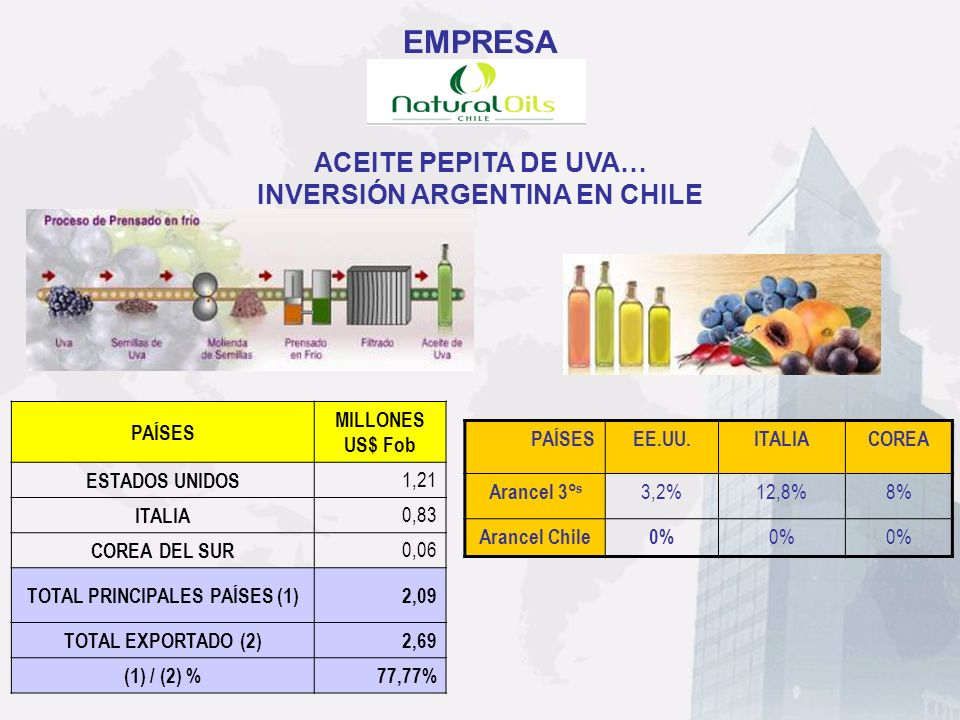 INVERSIÓN ARGENTINA EN CHILE TOTAL PRINCIPALES PAÍSES (1)