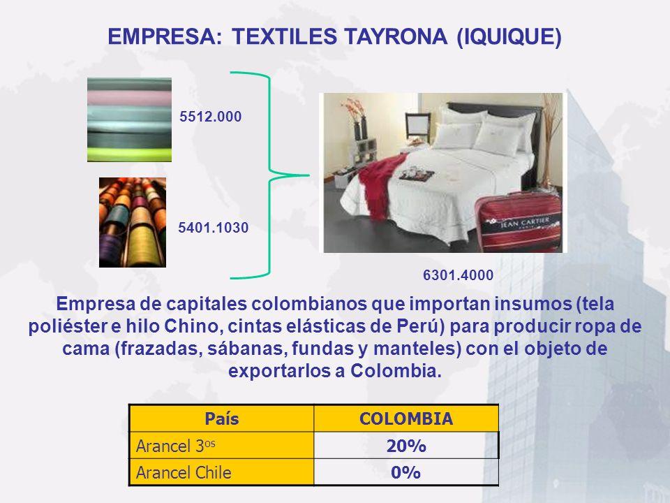 EMPRESA: TEXTILES TAYRONA (IQUIQUE)