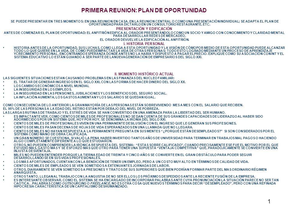 PRIMERA REUNION: PLAN DE OPORTUNIDAD