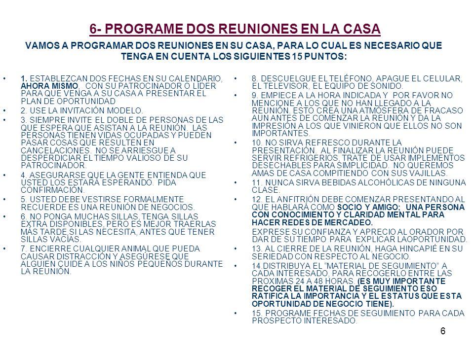 6- PROGRAME DOS REUNIONES EN LA CASA VAMOS A PROGRAMAR DOS REUNIONES EN SU CASA, PARA LO CUAL ES NECESARIO QUE TENGA EN CUENTA LOS SIGUIENTES 15 PUNTOS: