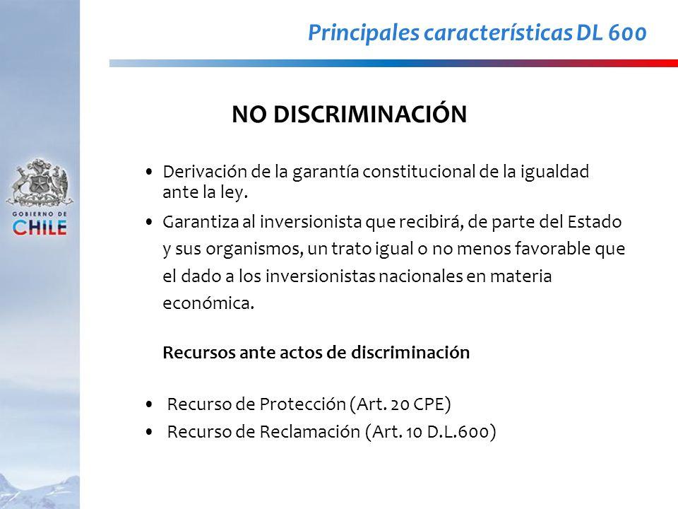 NO DISCRIMINACIÓN Principales características DL 600