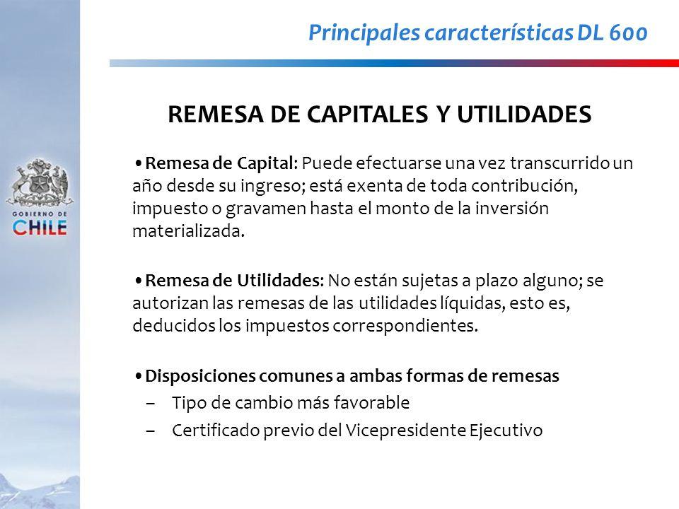 REMESA DE CAPITALES Y UTILIDADES