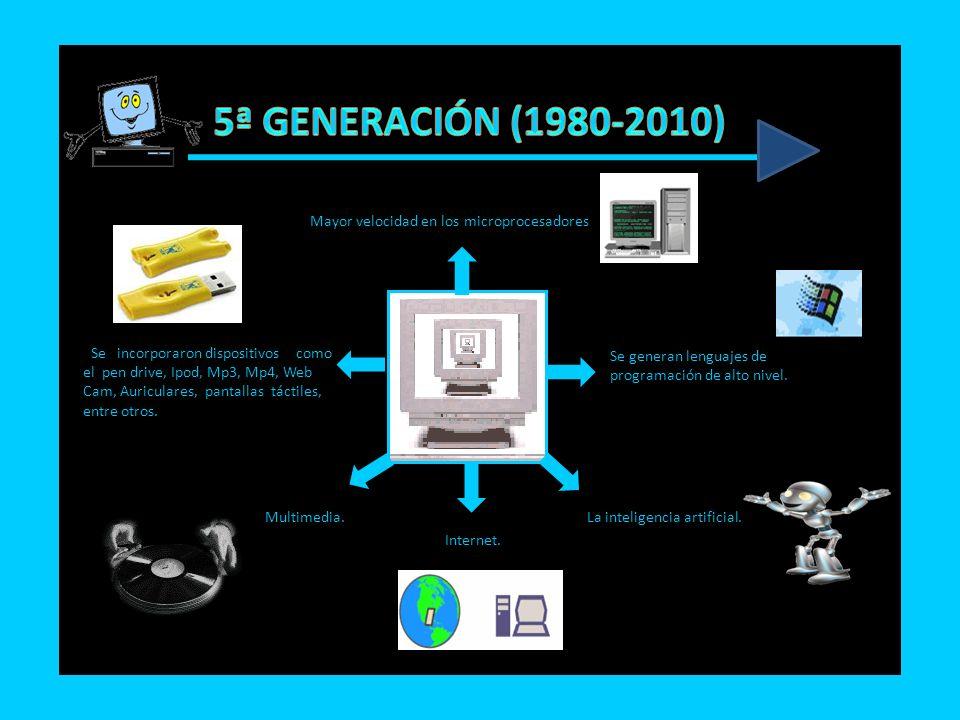 5ª GENERACIÓN (1980-2010) Mayor velocidad en los microprocesadores