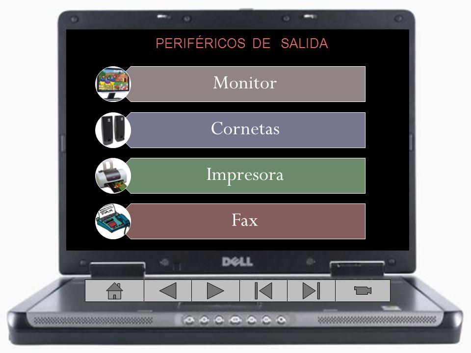PERIFÉRICOS DE SALIDA DISPOSITIVOS DE ALMACENAMIENTO Monitor Cornetas