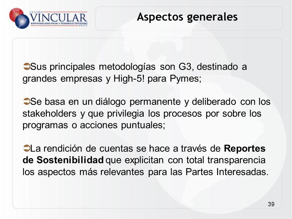 Aspectos generales Sus principales metodologías son G3, destinado a grandes empresas y High-5! para Pymes;