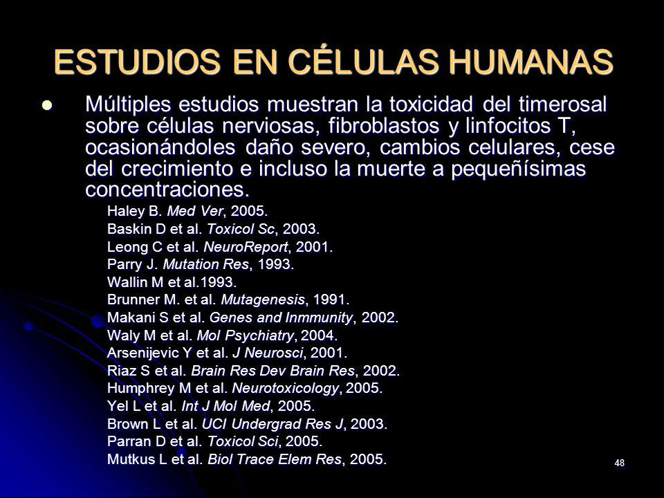 ESTUDIOS EN CÉLULAS HUMANAS