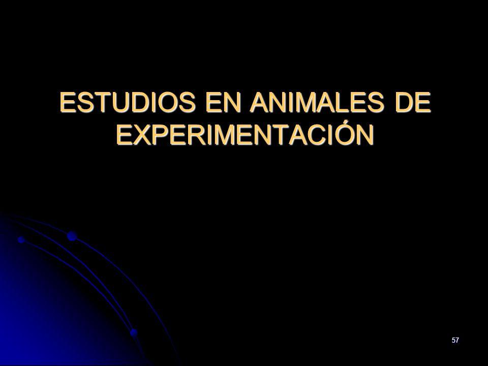 ESTUDIOS EN ANIMALES DE EXPERIMENTACIÓN