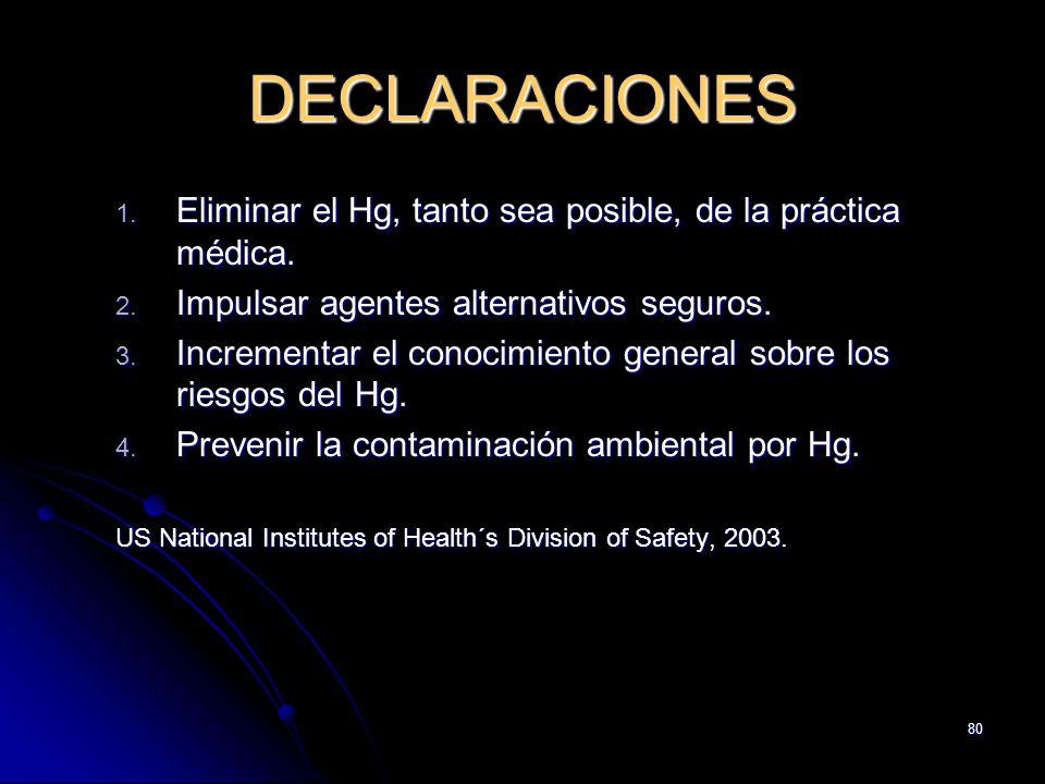 DECLARACIONES Eliminar el Hg, tanto sea posible, de la práctica médica. Impulsar agentes alternativos seguros.