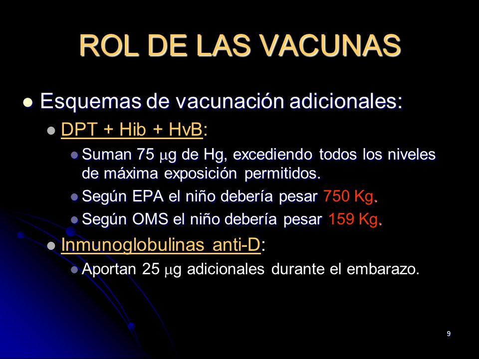 ROL DE LAS VACUNAS Esquemas de vacunación adicionales: