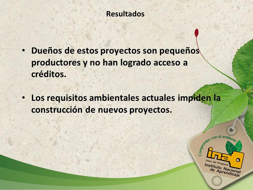 Resultados Dueños de estos proyectos son pequeños productores y no han logrado acceso a créditos.