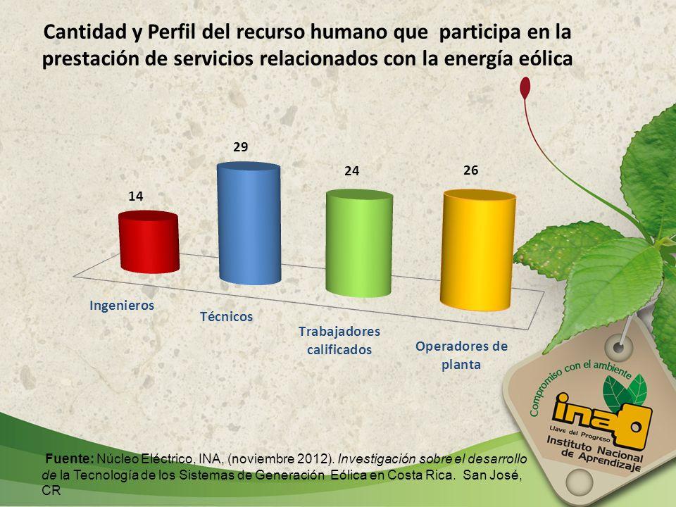 Cantidad y Perfil del recurso humano que participa en la prestación de servicios relacionados con la energía eólica