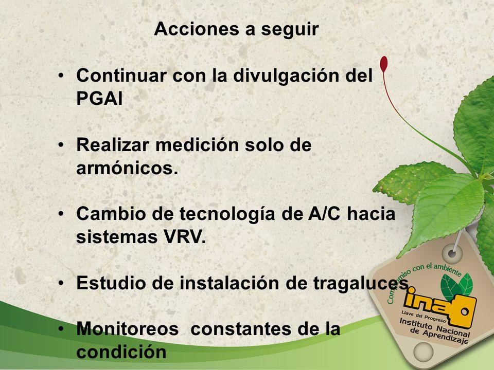 Acciones a seguir Continuar con la divulgación del PGAI. Realizar medición solo de armónicos. Cambio de tecnología de A/C hacia sistemas VRV.