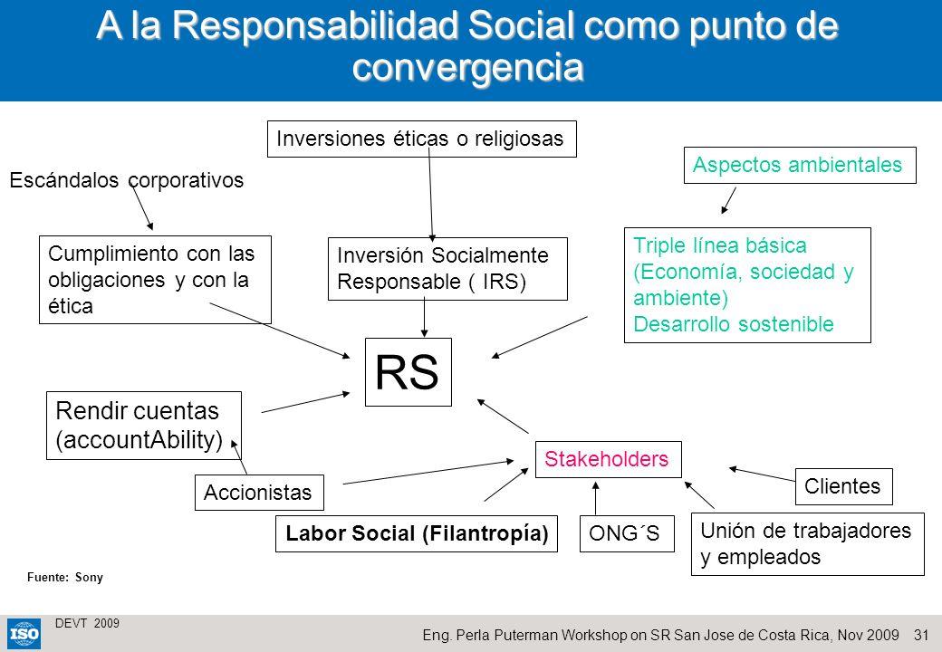 A la Responsabilidad Social como punto de convergencia