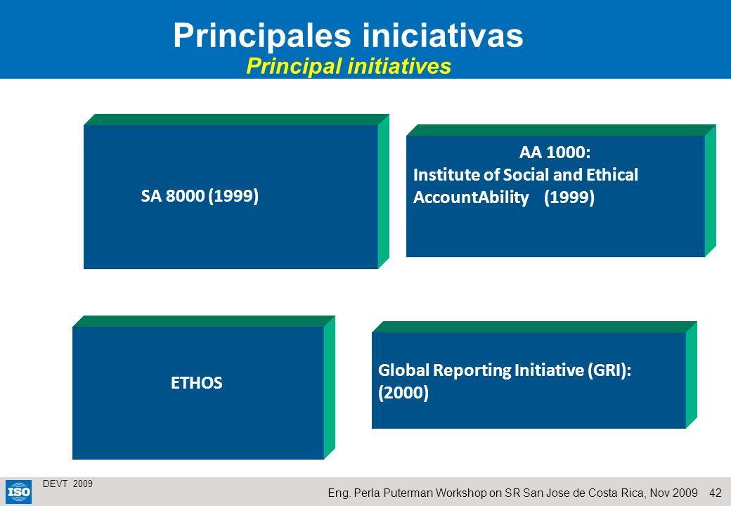 Principales iniciativas Principal initiatives