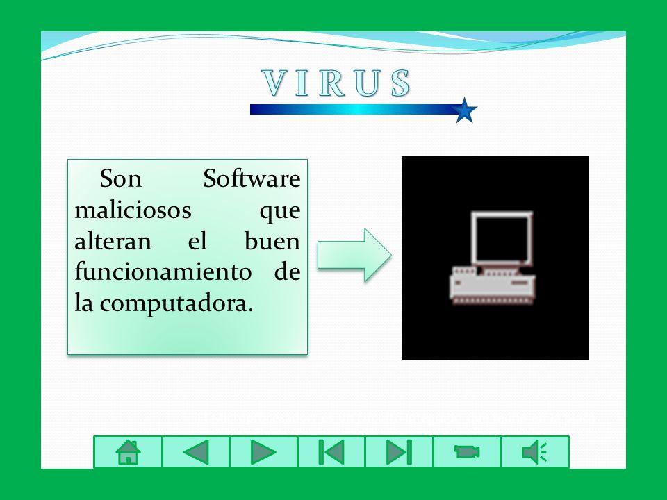 V I R U S Son Software maliciosos que alteran el buen funcionamiento de la computadora.