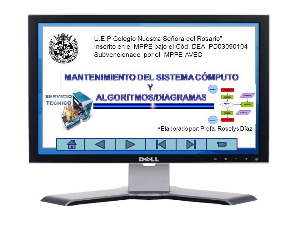 MANTENIMIENTO DEL SISTEMA CÓMPUTO ALGORITMOS/DIAGRAMAS
