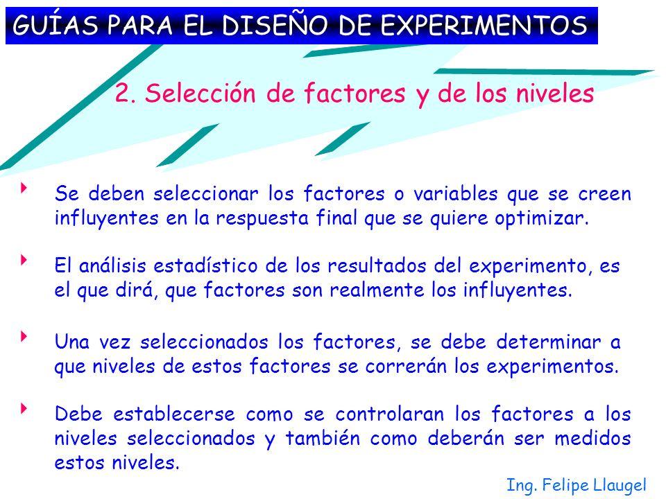 2. Selección de factores y de los niveles