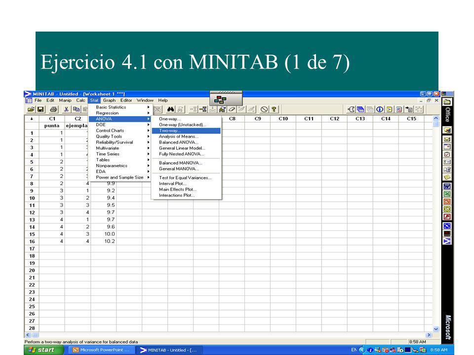 Ejercicio 4.1 con MINITAB (1 de 7)