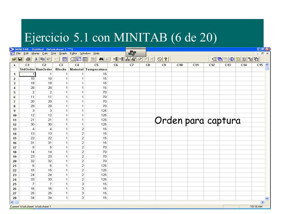 Ejercicio 5.1 con MINITAB (6 de 20)