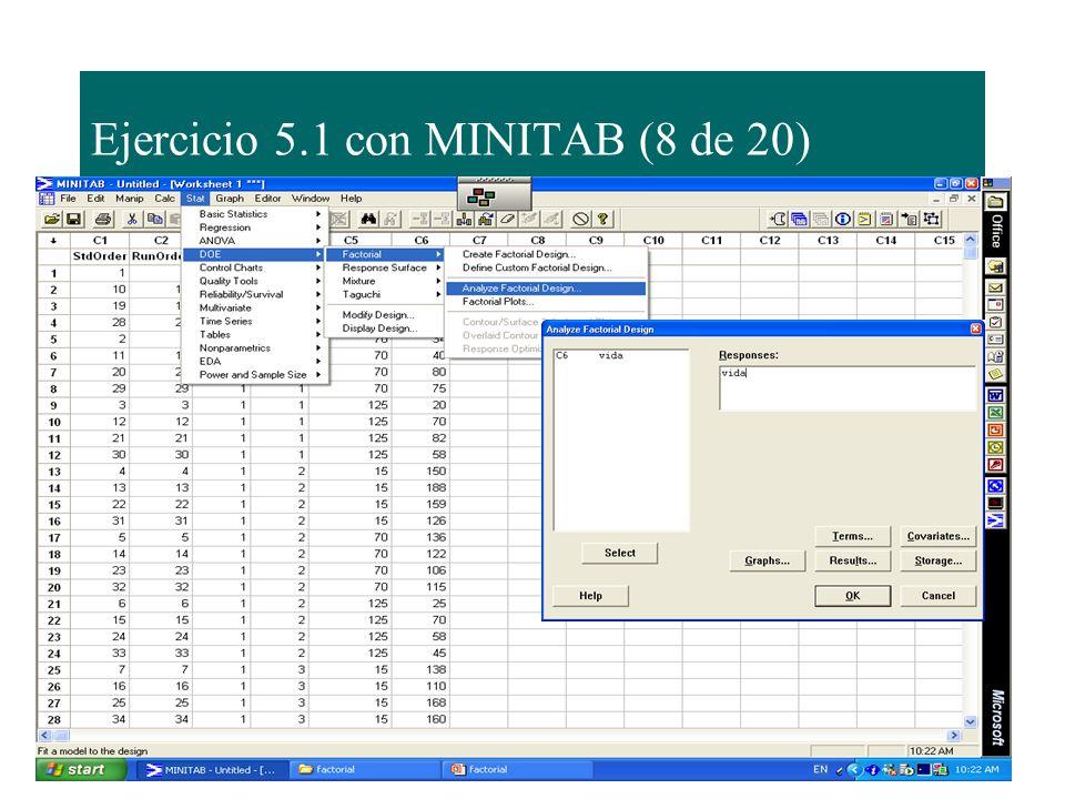 Ejercicio 5.1 con MINITAB (8 de 20)