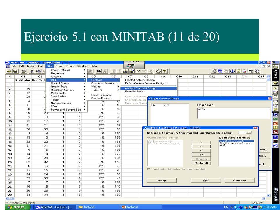 Ejercicio 5.1 con MINITAB (11 de 20)