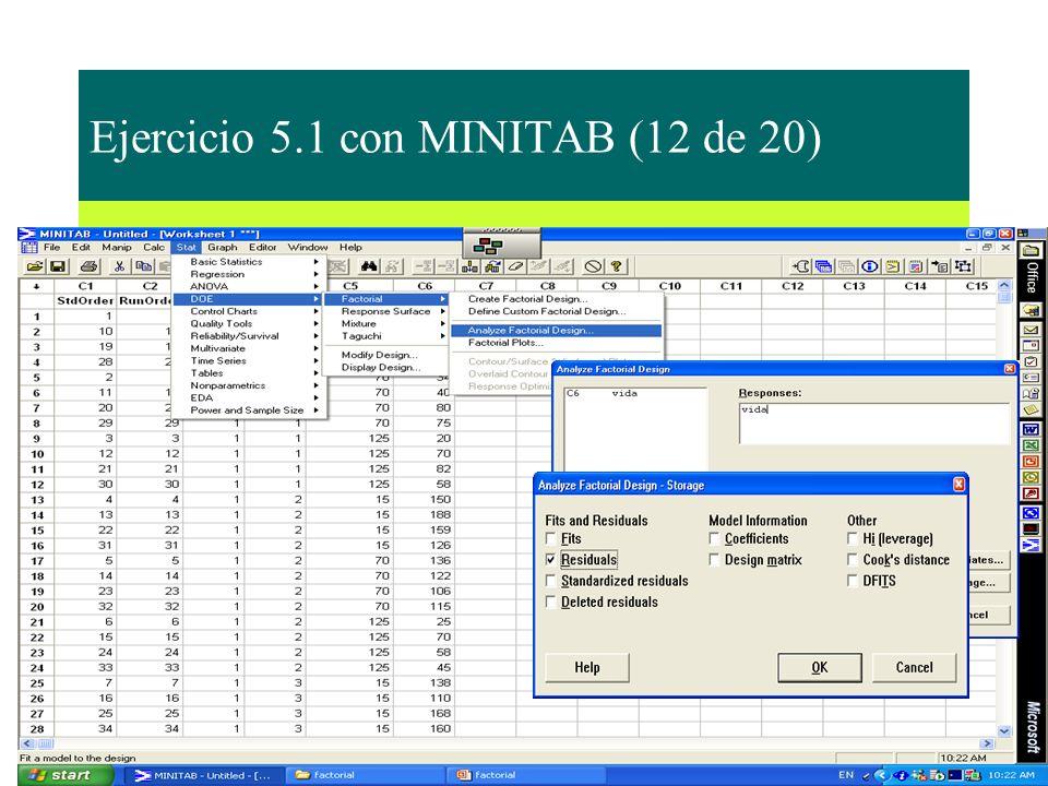 Ejercicio 5.1 con MINITAB (12 de 20)