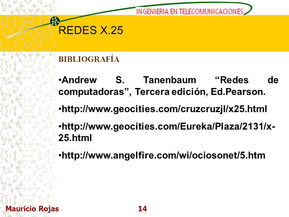 BIBLIOGRAFÍA Andrew S. Tanenbaum Redes de computadoras , Tercera edición, Ed.Pearson. http://www.geocities.com/cruzcruzjl/x25.html.
