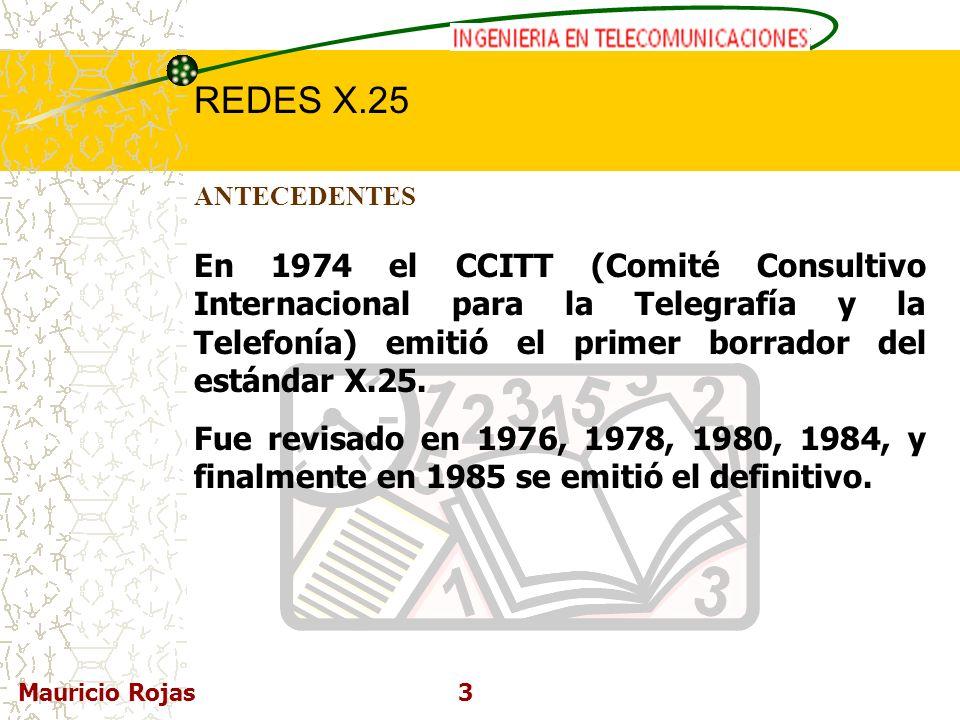 ANTECEDENTES En 1974 el CCITT (Comité Consultivo Internacional para la Telegrafía y la Telefonía) emitió el primer borrador del estándar X.25.