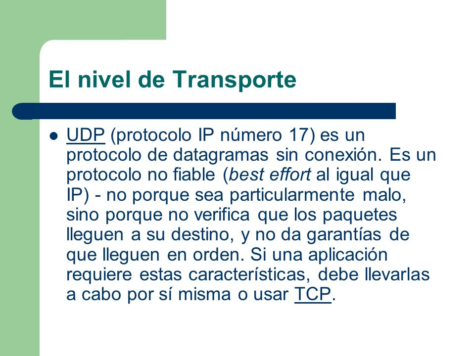 El nivel de Transporte