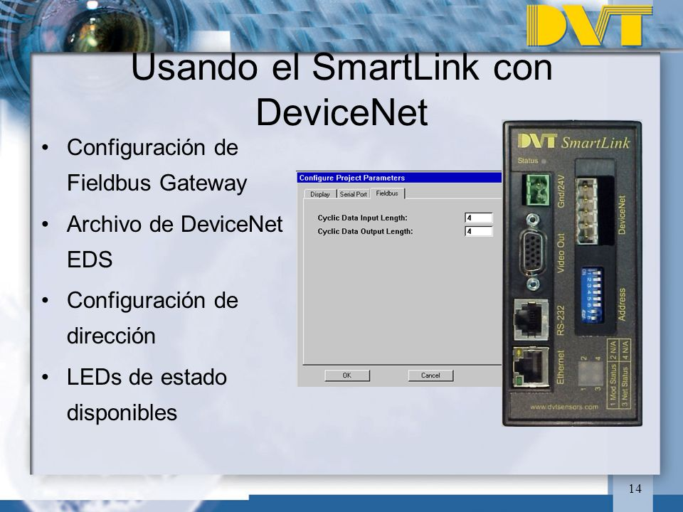 Usando el SmartLink con DeviceNet