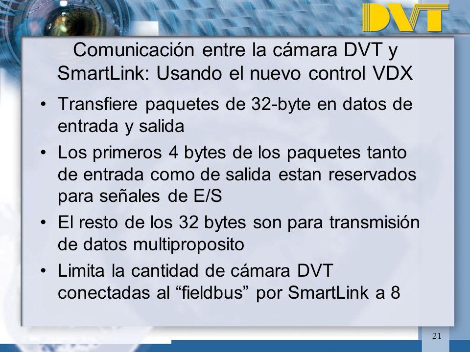 Comunicación entre la cámara DVT y SmartLink: Usando el nuevo control VDX