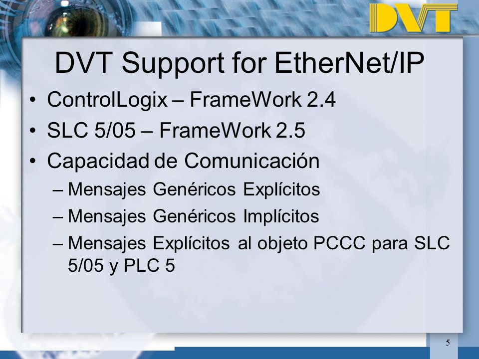 DVT Support for EtherNet/IP