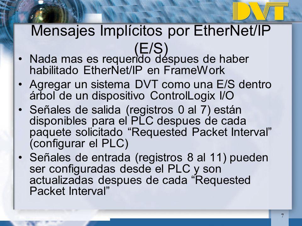 Mensajes Implícitos por EtherNet/IP (E/S)
