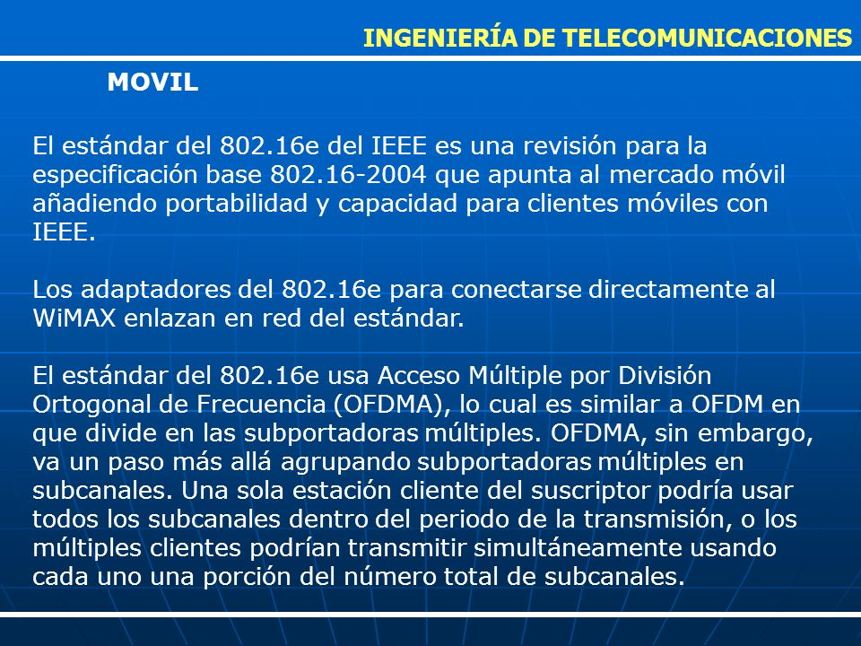 INGENIERÍA DE TELECOMUNICACIONES