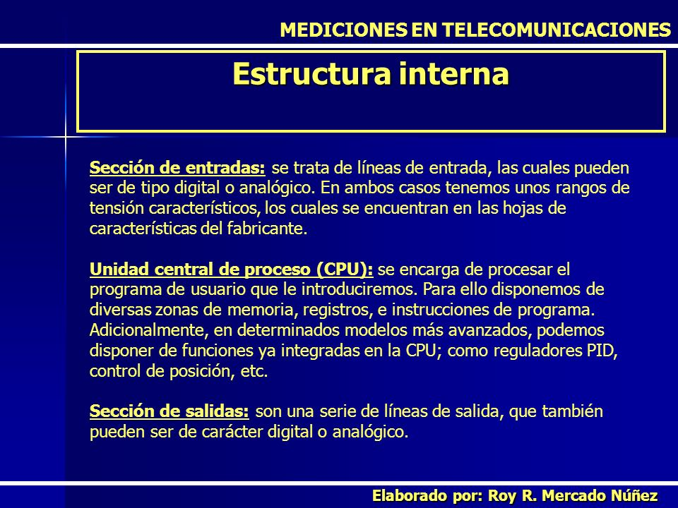 Estructura interna MEDICIONES EN TELECOMUNICACIONES