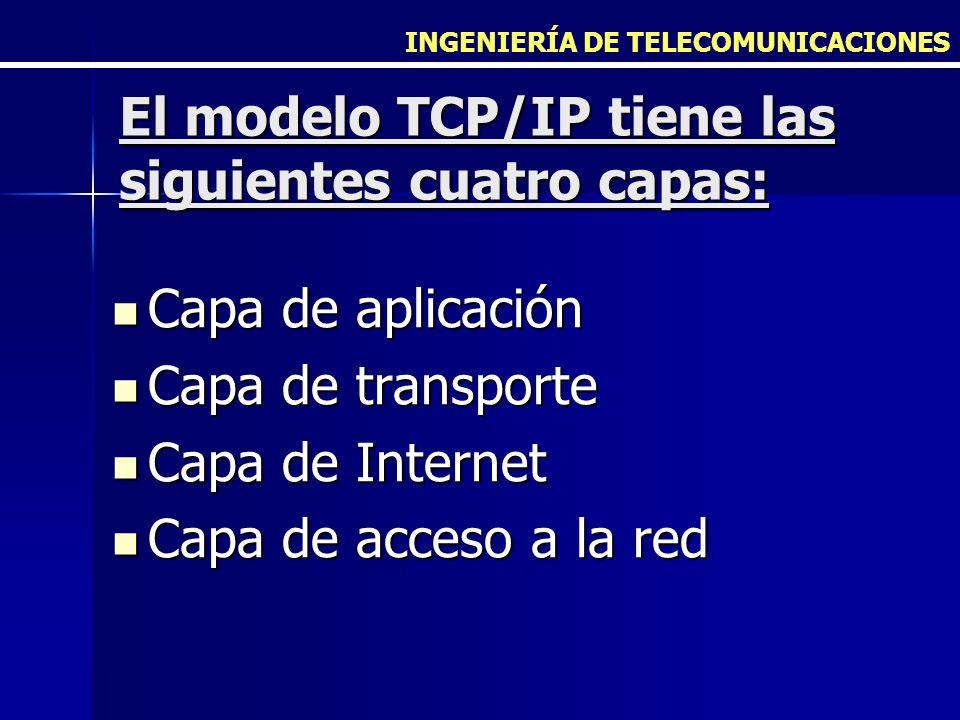 El modelo TCP/IP tiene las siguientes cuatro capas: