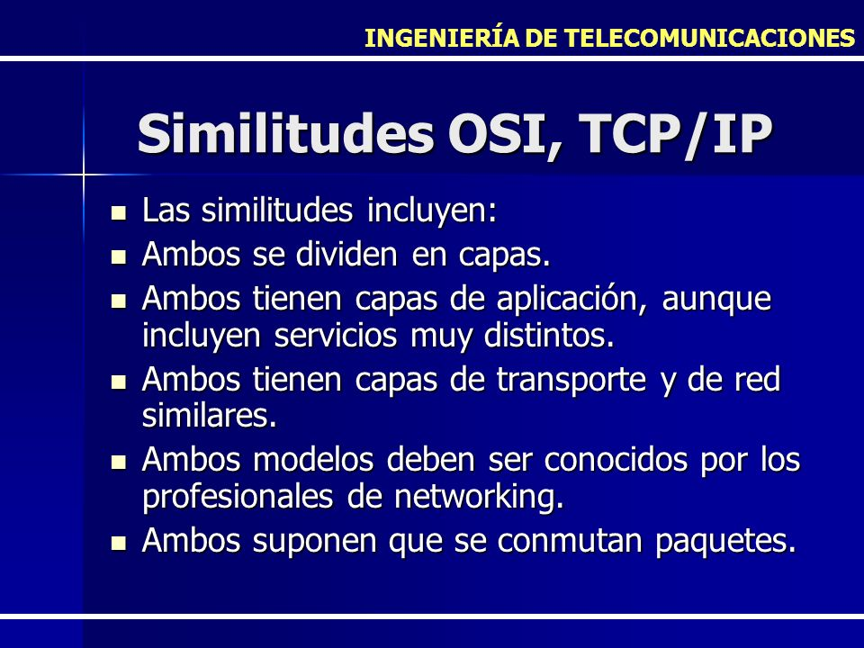 Similitudes OSI, TCP/IP