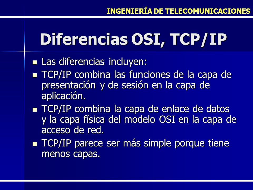 Diferencias OSI, TCP/IP