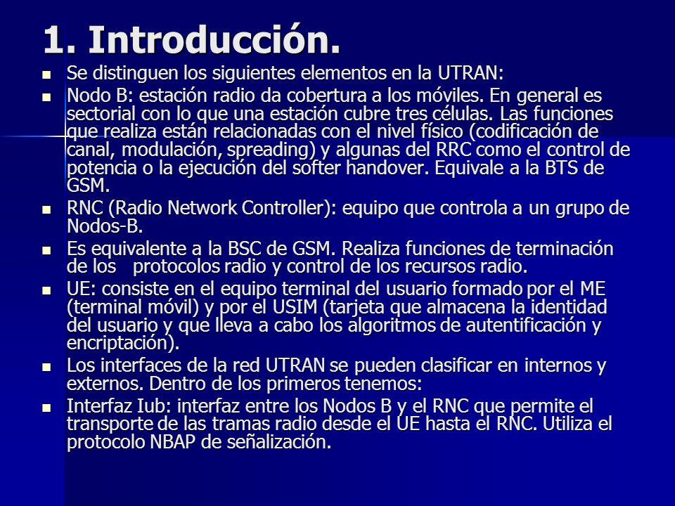 1. Introducción. Se distinguen los siguientes elementos en la UTRAN: