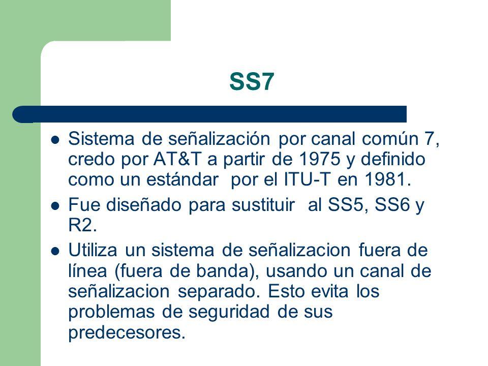 SS7Sistema de señalización por canal común 7, credo por AT&T a partir de 1975 y definido como un estándar por el ITU-T en 1981.
