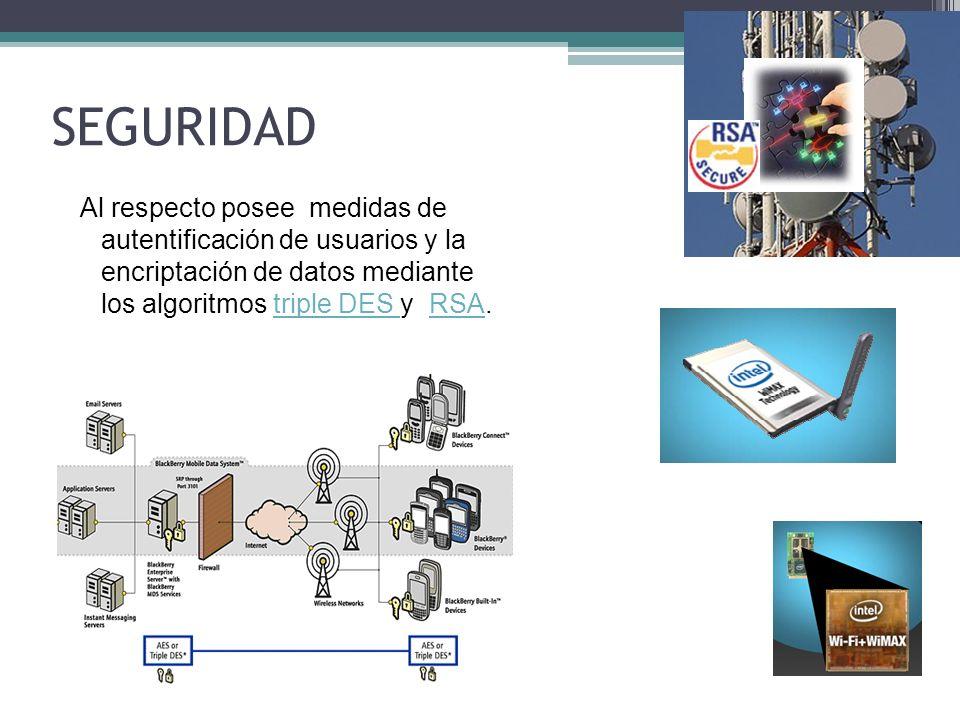 SEGURIDAD Al respecto posee medidas de autentificación de usuarios y la encriptación de datos mediante los algoritmos triple DES y RSA.