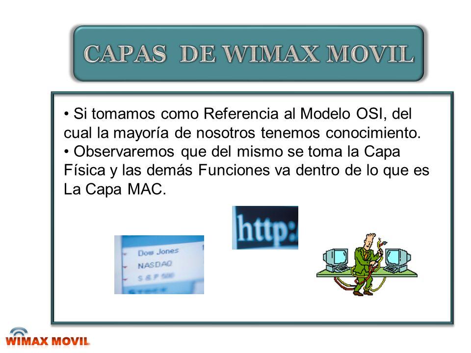 CAPAS DE WIMAX MOVIL Si tomamos como Referencia al Modelo OSI, del cual la mayoría de nosotros tenemos conocimiento.