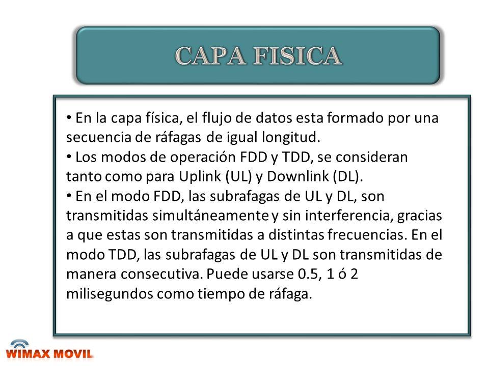 CAPA FISICA En la capa física, el flujo de datos esta formado por una secuencia de ráfagas de igual longitud.