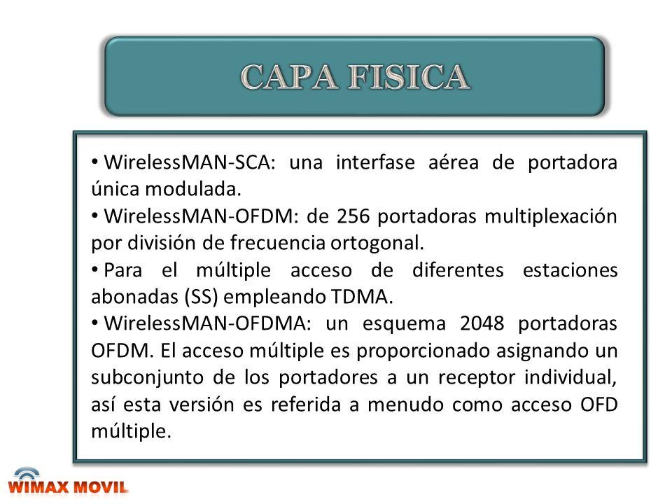 CAPA FISICA WirelessMAN-SCA: una interfase aérea de portadora única modulada.