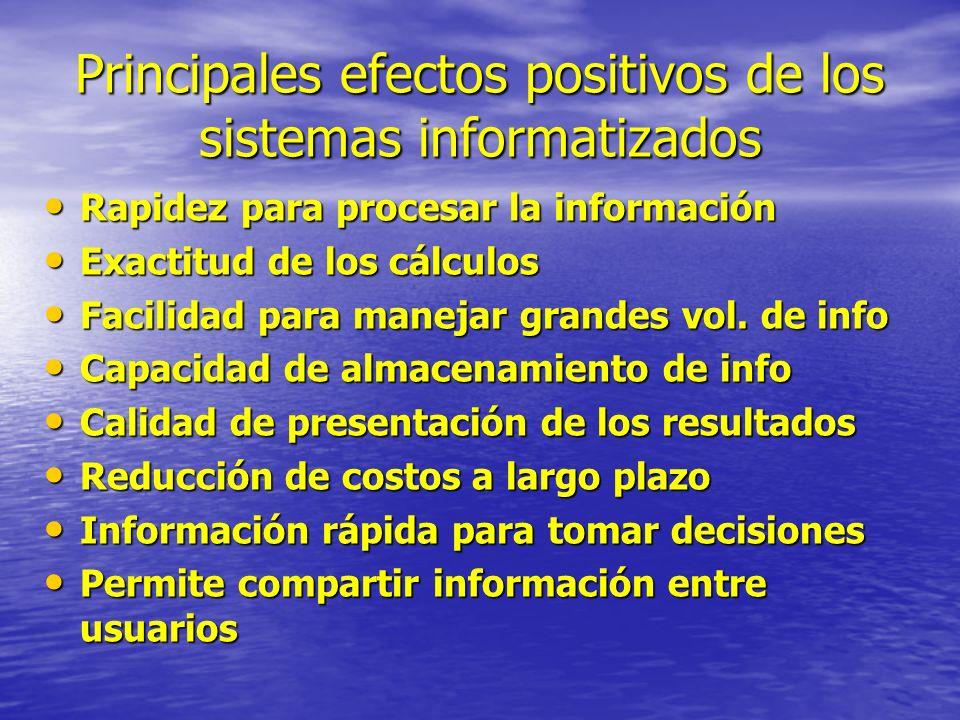 Principales efectos positivos de los sistemas informatizados